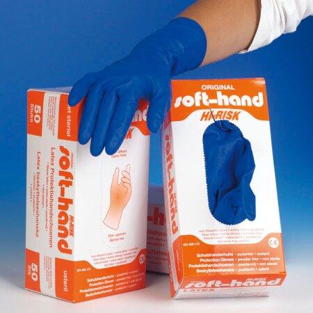 Handschuhe Latex Schutz Hi-Risk blau  puderfrei