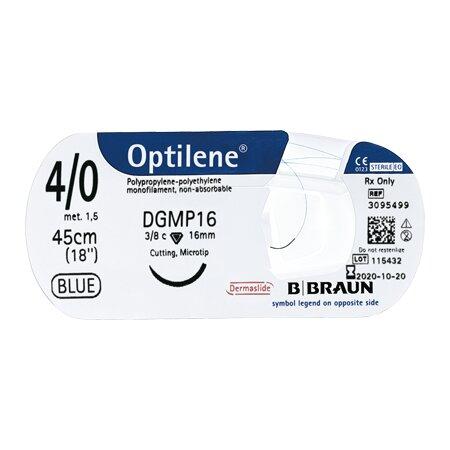 Nahtmaterial Optilene  blau 5/0 DRT18 75cm