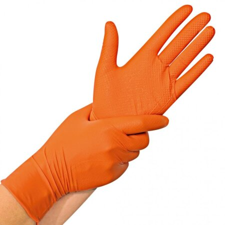Handschuhe Nitril Power Grip puderfrei orange besonders...